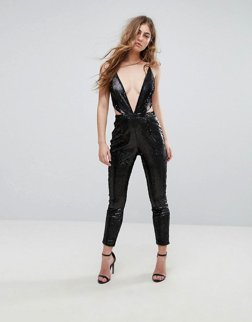 424acd3343b2 Prettylittlething Cut Out Strappy Back Jumpsuit in Black - Lyst