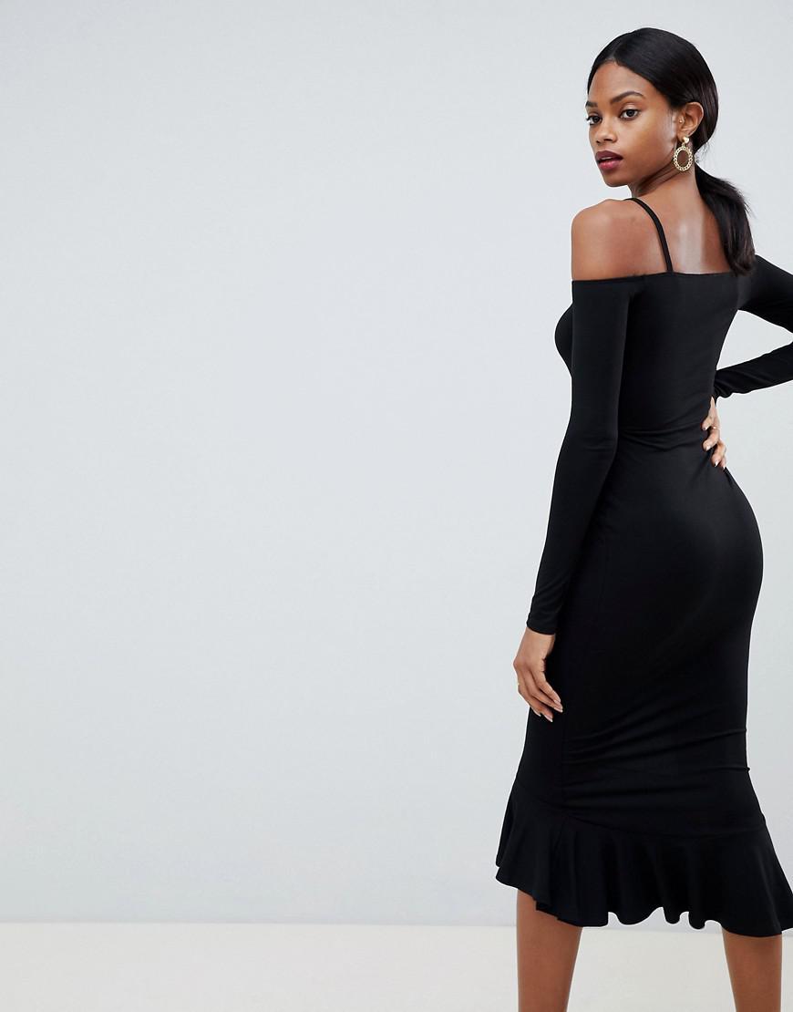 683e906451df ASOS Strappy Bardot Pephem Bodycon Midi Dress in Black - Lyst