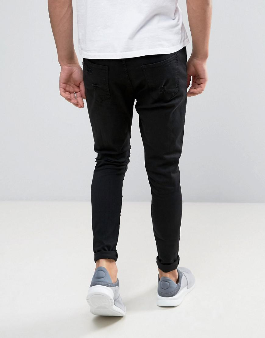 Super Skinny Jeans In Black With Distressing - Black Good For Nothing 238Cxp1C9c