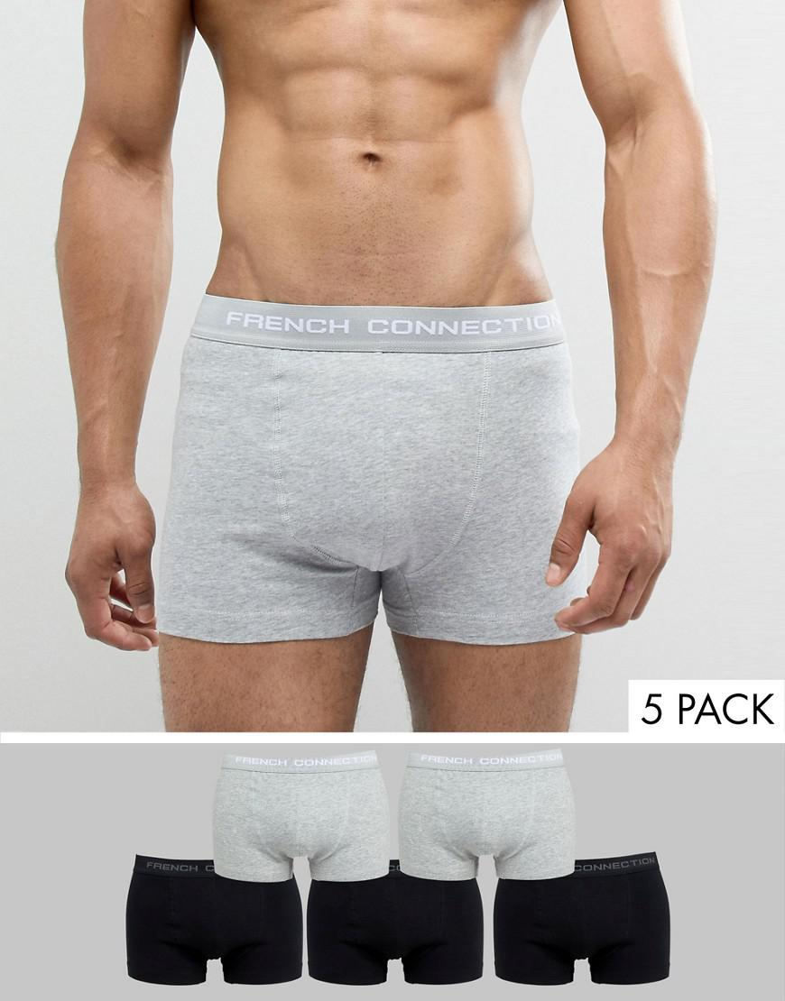 4b21375984e1c French Connection - Gray 5 Pack Boxers for Men - Lyst. View fullscreen