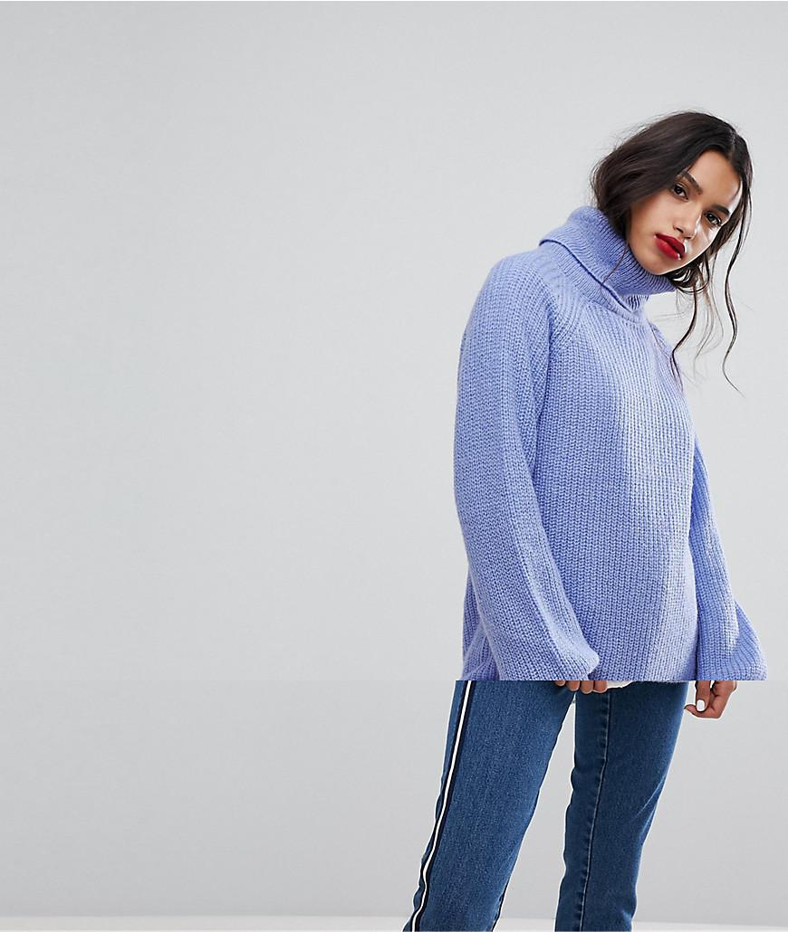 2519495e Lyst - Vero Moda Roll Neck Sweater With Balloon Sleeves in Blue