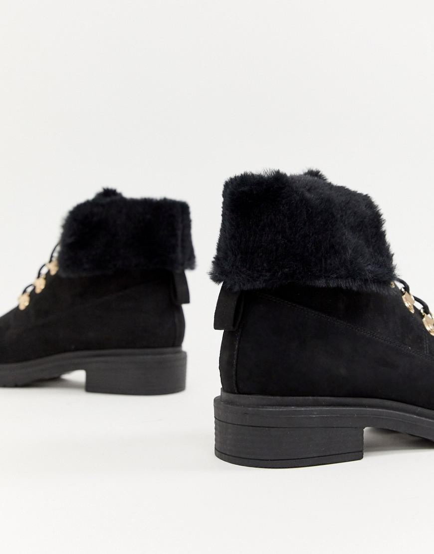 095566ae8119 Lyst - Miss Selfridge Lace Up Ankle Boots With Faux Fur Lining In Black in  Black