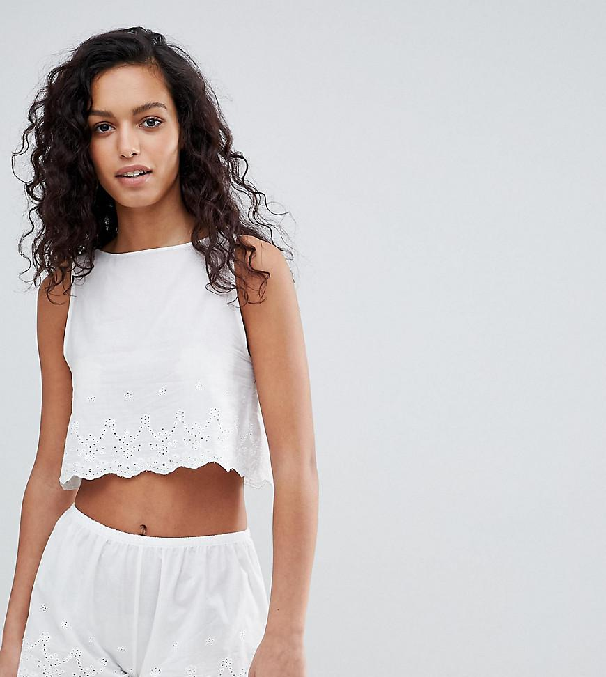 10f18ac71f Lyst - Wolf   Whistle Broderie Anglais Short Pajama Set in White