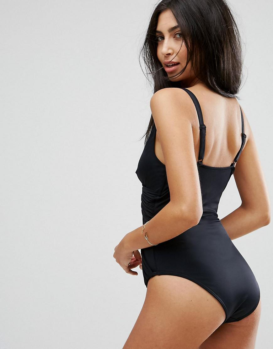 33ee9e0edf ASOS 'sculpt Me' Control Drape Front Supportive Swimsuit in Black - Lyst