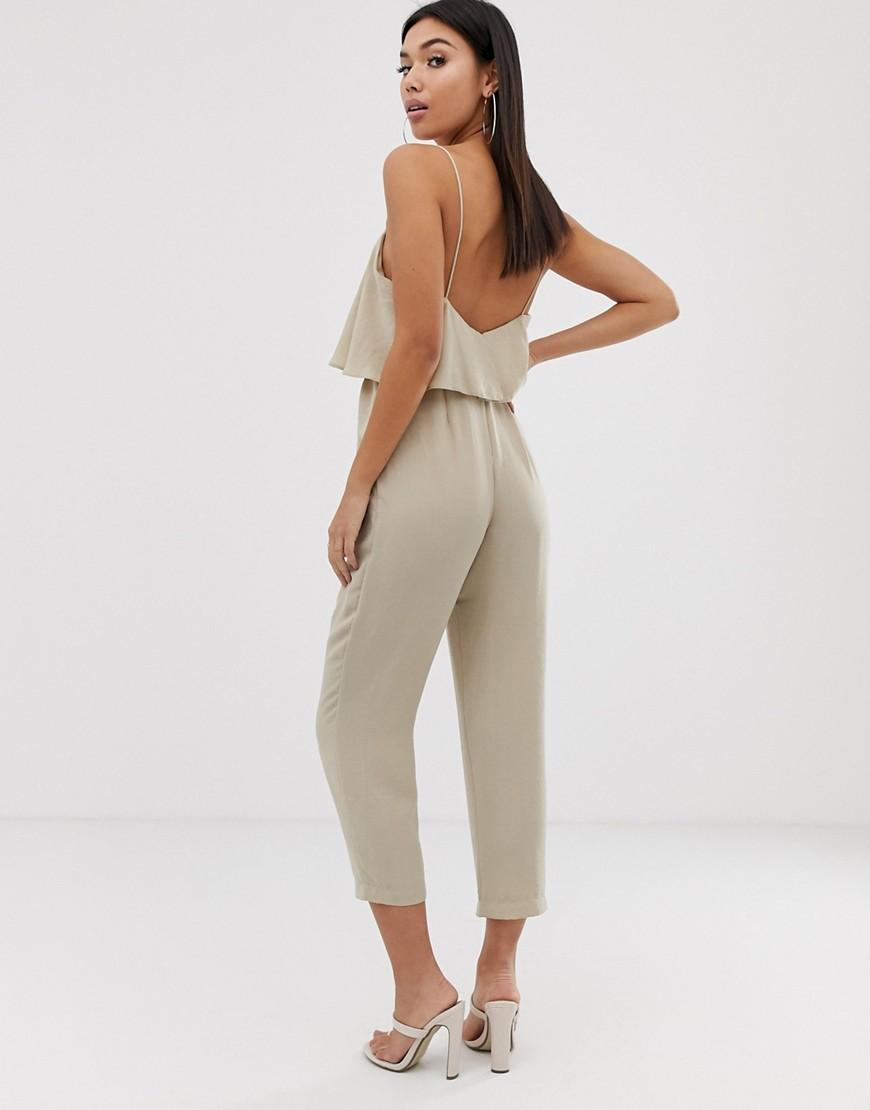 d49ae538ca352 ASOS Double Layer Cami Peg Jumpsuit in Natural - Lyst