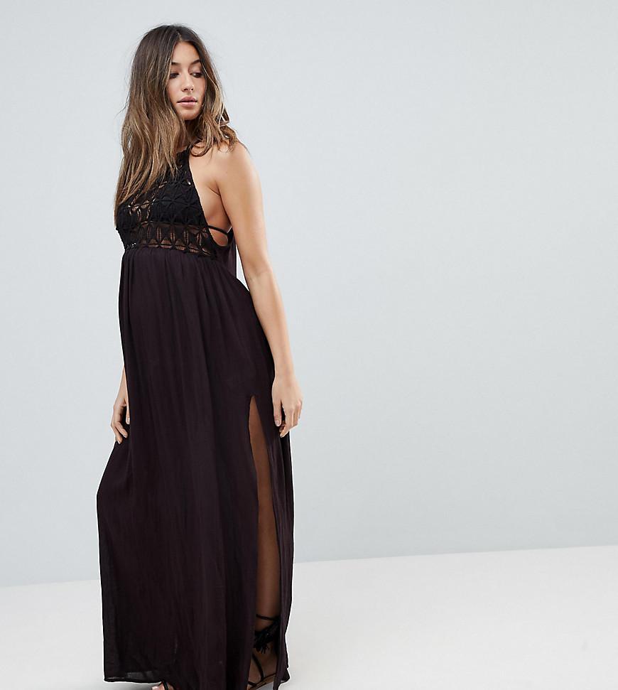 d7d2a34845 ASOS. Women's Black Asos Design Maternity Premium Crochet Panel Maxi Beach  Dress