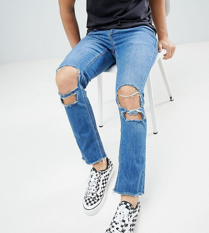 Relaxed Super Skinny Skinny Cropped Jeans With Rips and Raw Hem In Mid Wash - Blue Mennace Free Shipping 100% Original 2018 cx9edFf
