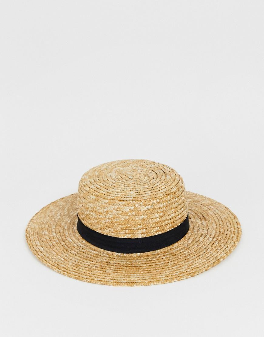 68c66c26ebb840 Lyst - South Beach Straw Boater Hat With Black Ribbon in Natural