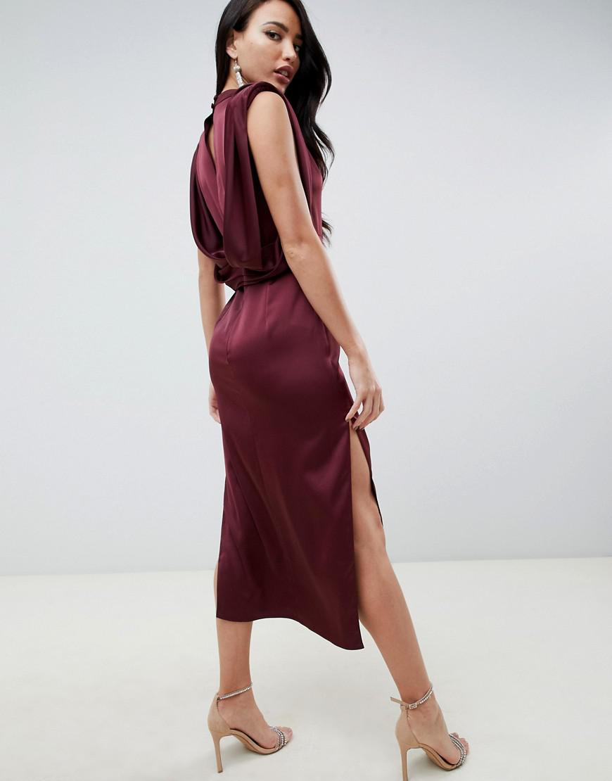 1b2a41d08dba2 ASOS Asos Design Tall Satin Midi Dress With Drape Armhole And Side Split in  Red - Lyst