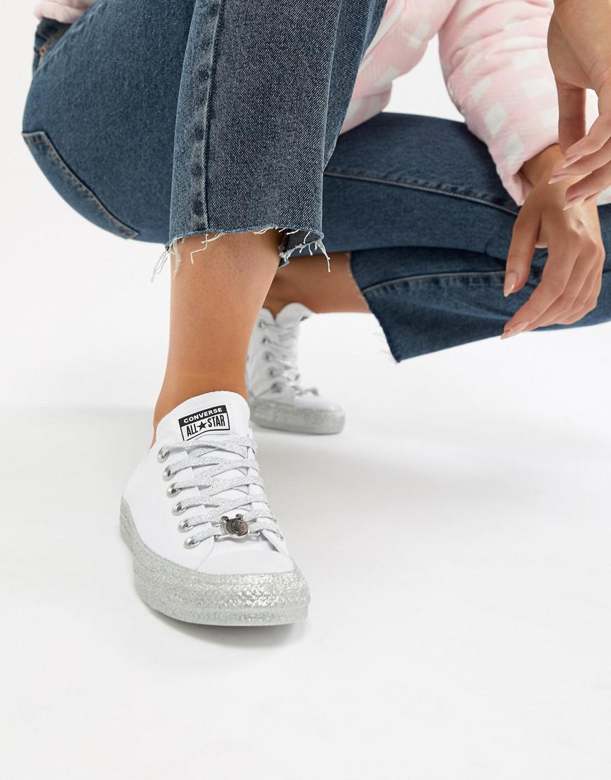 clearance low shipping fee clearance find great Converse X Miley Cyrus Chuck Taylor All Star Low Trainers White And Silver Glitter CMk9ykcEXS