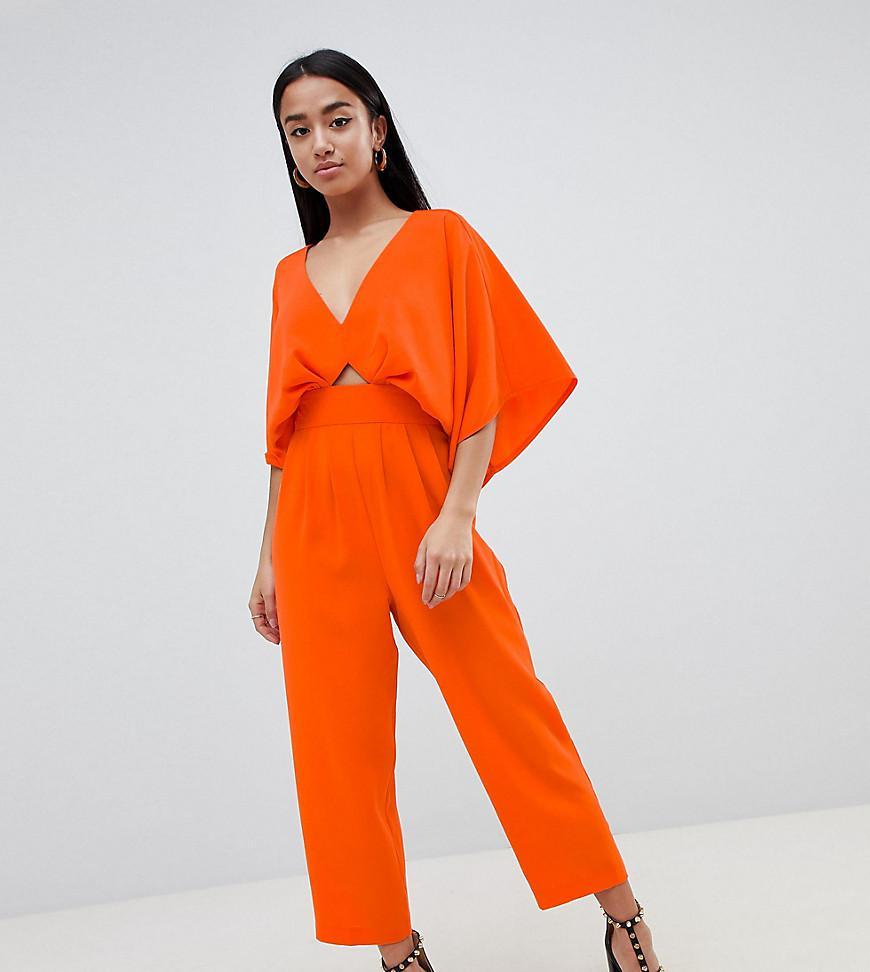 1dedf1ece258 ASOS. Women s Red Asos Design Petite Jumpsuit With Kimono Sleeve And Peg Leg