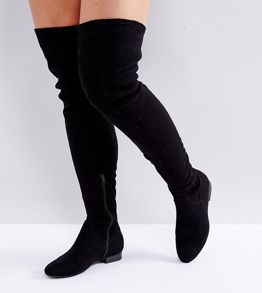 b8cd4398b22 ASOS - Black Asos Kasba Wide Fit Flat Over The Knee Boots - Lyst. View  fullscreen