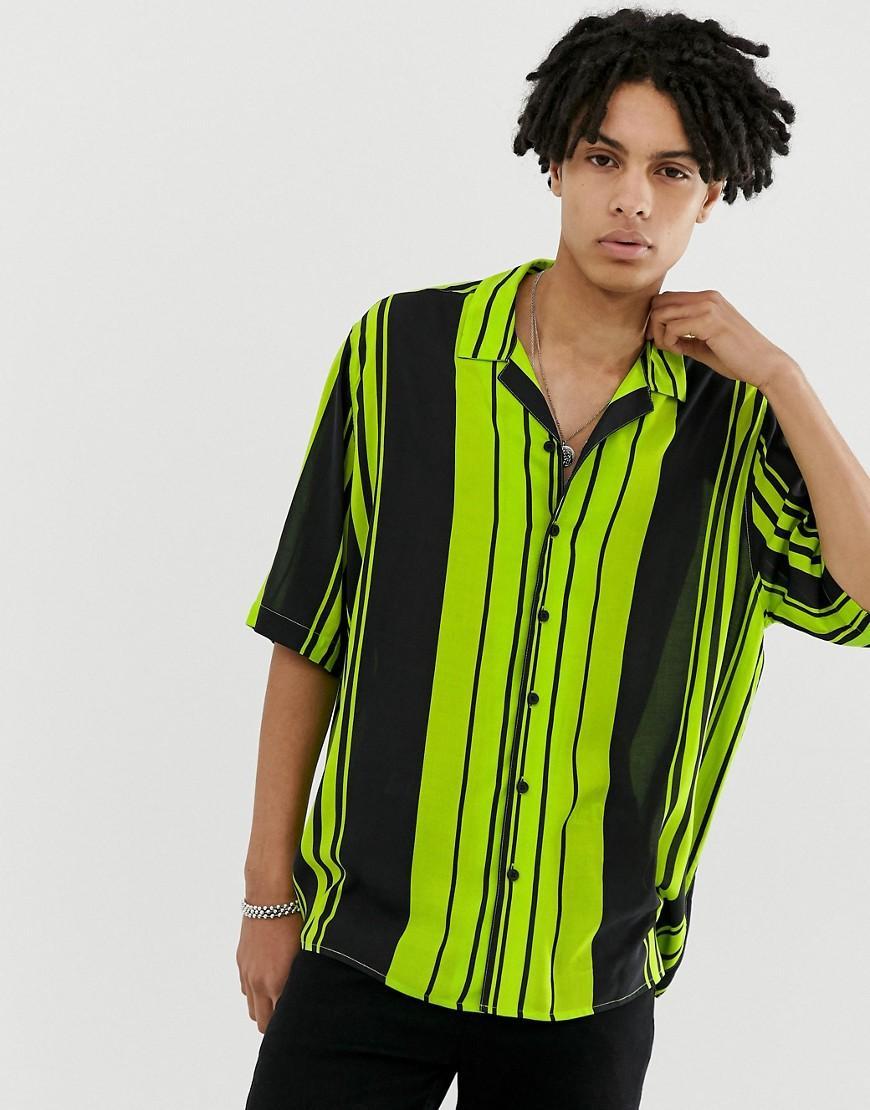 6fe92a63 Collusion - Green Oversized Stripe Revere Shirt for Men - Lyst. View  fullscreen
