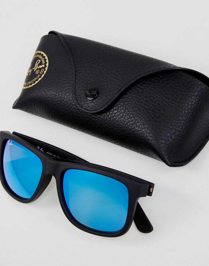 Ray Ban 0rb4165 Justin Wayfarer Sunglasses With Mirror Lens 55mm In