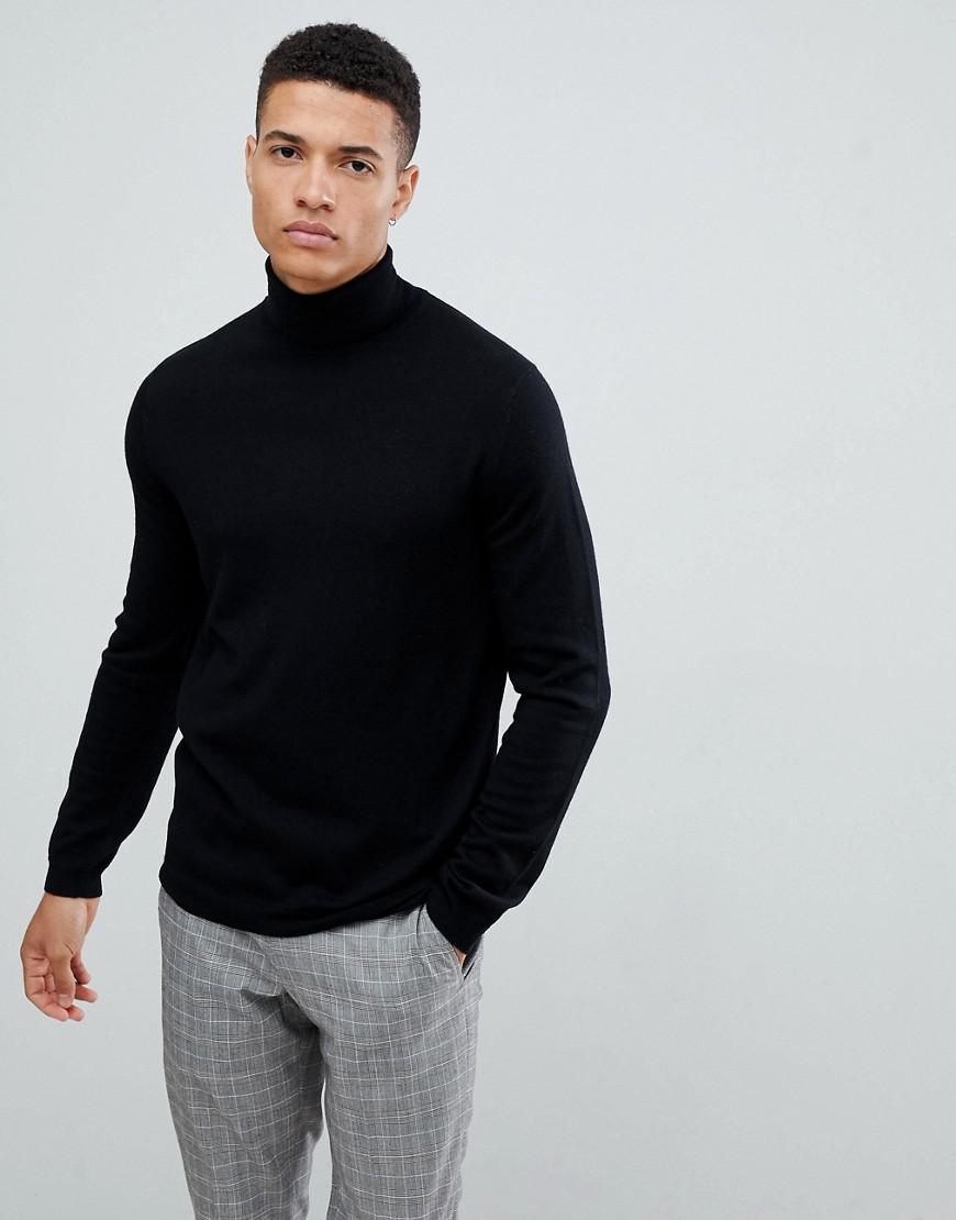 af1f79a2 Lyst - ASOS Merino Wool Roll Neck Jumper In Black in Black for Men