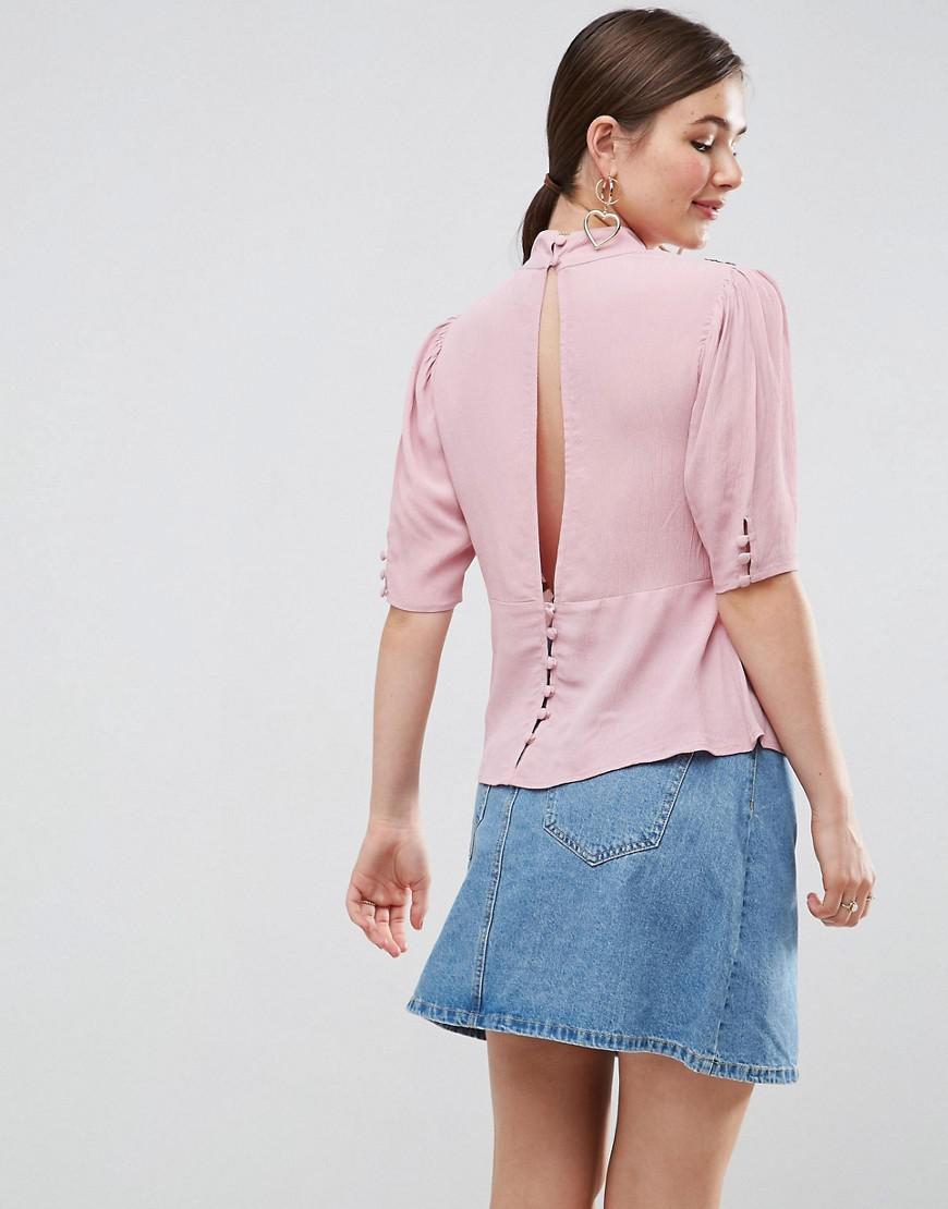 7b7a5ffbee6e37 Lyst - ASOS Asos Puff Sleeve Embroidered Blouse in Pink