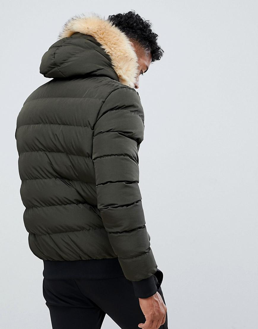 0b88f4eb6 SIKSILK Puffer Jacket With Faux Fur Hood In Khaki in Green for Men ...