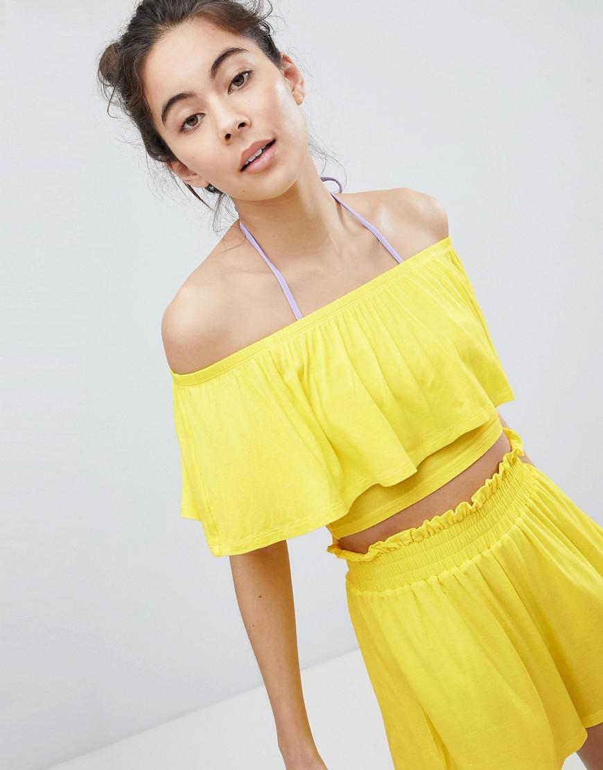 e0003164b580 Lyst - Monki Cropped Frill Bardot Beach Top in Yellow