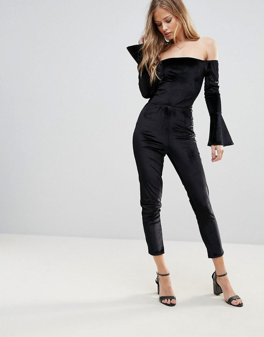 0bbc1e27adf6 Oh My Love Off The Shoulder Flute Sleeve Jumpsuit in Black - Lyst