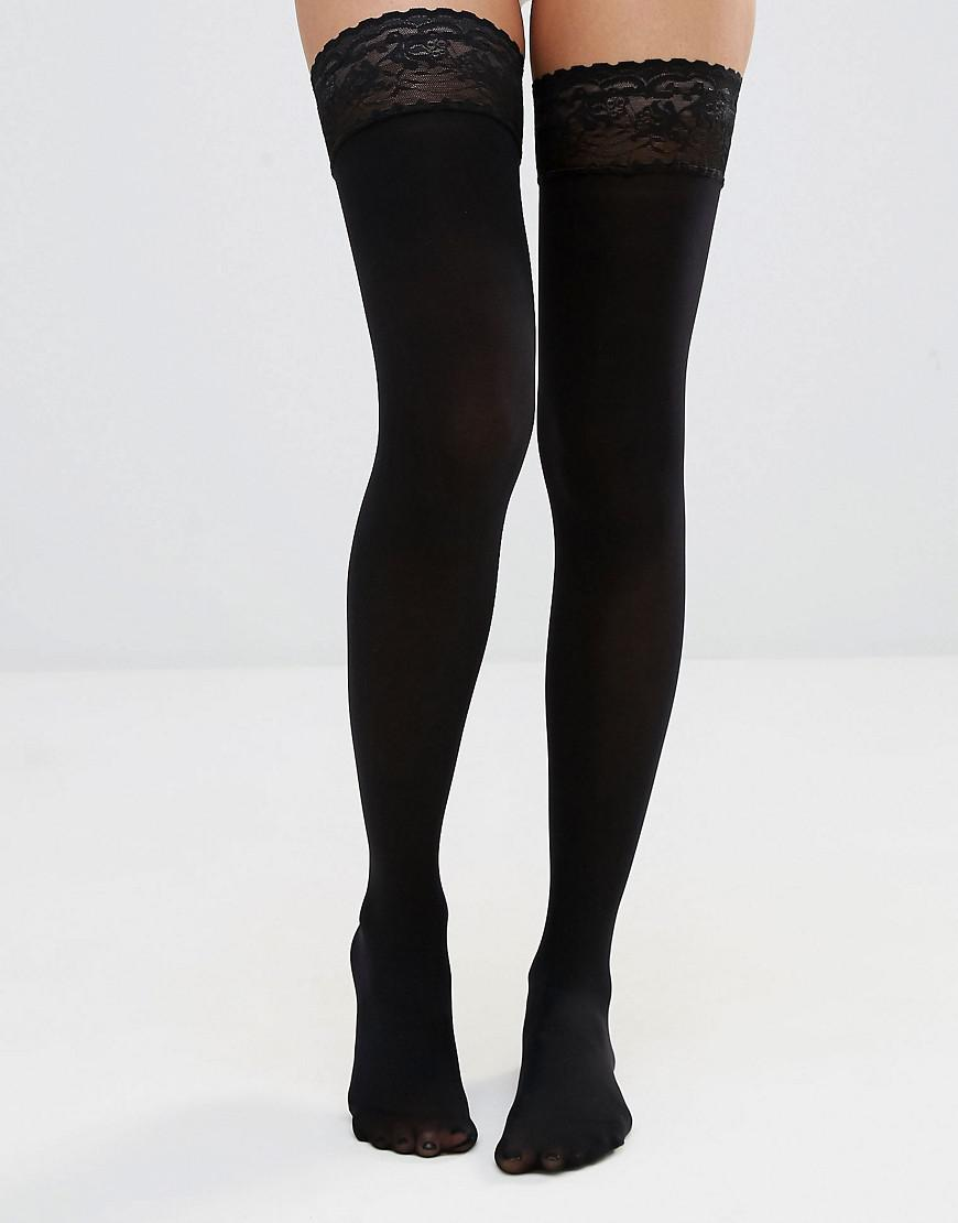 48f6bb15c Lyst - ASOS 50 Denier Lace Top Hold Ups in Black