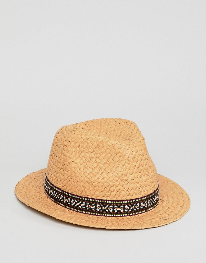 43223f084ce3e ASOS Wide Brim Straw Hat With Aztec Band in Natural for Men - Lyst