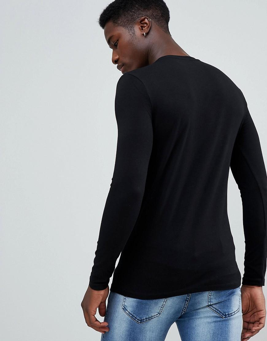 d7b81675 Lyst - ASOS Muscle Fit Long Sleeve Crew Neck T-shirt With Stretch 2 Pack  Multipack Saving in Black for Men