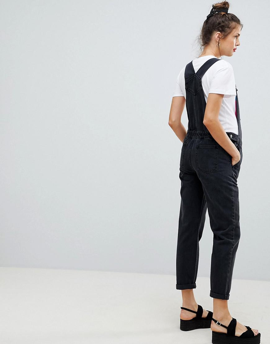 a99ede8178ff Lyst - ASOS Asos Design Maternity Denim Overall In Washed Black in Black