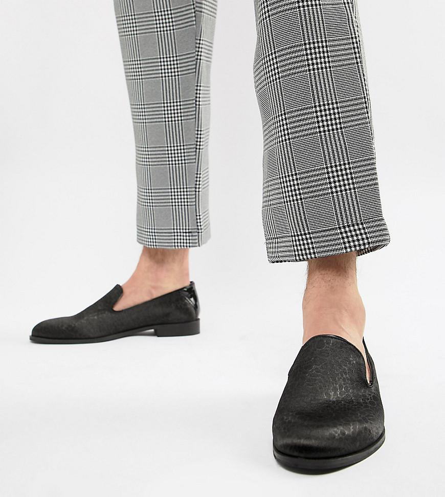 0f841139775 House Of Hounds Wide Fit Hawk Loafers In Black Pebble in Black for ...