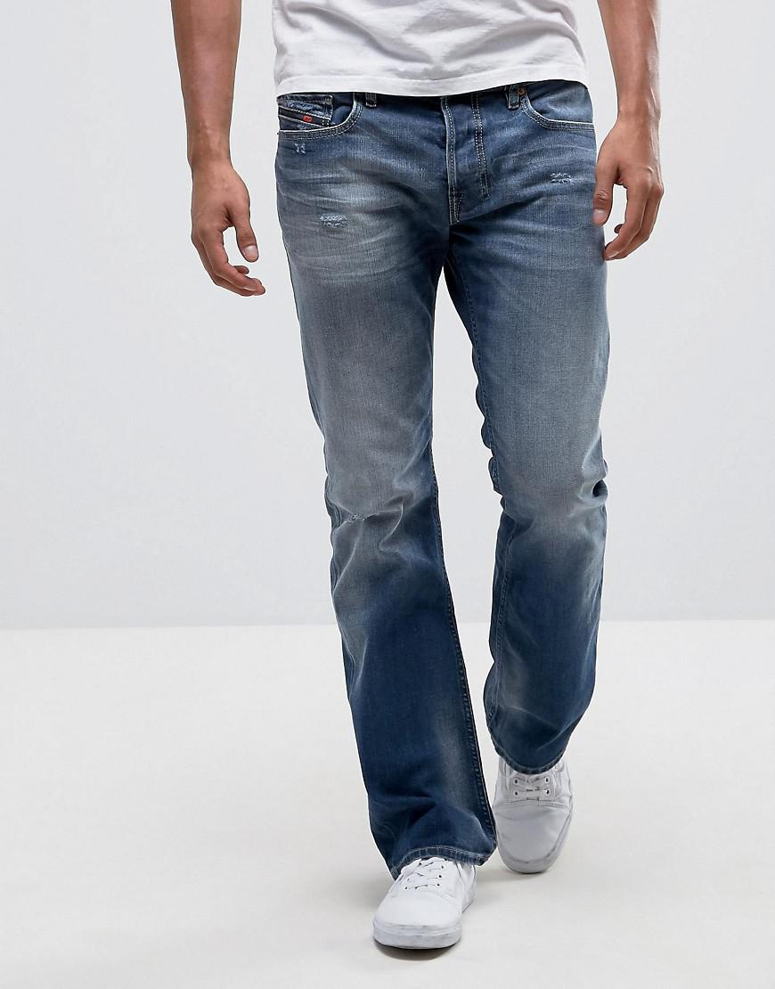 4102a8d3 DIESEL Zatiny Bootcut Jeans 084dd Mid Wash Abraisions in Blue for ...