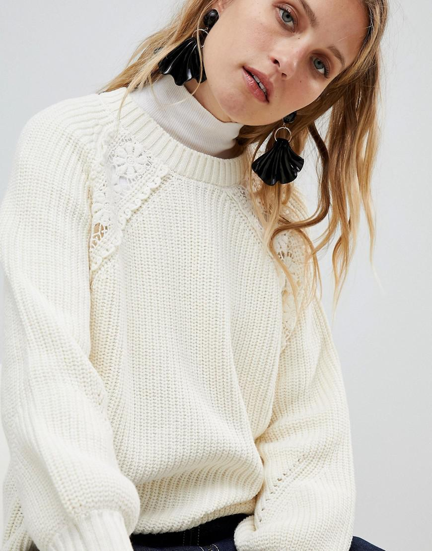 Free Shipping Geniue Stockist Genuine Cheap Price MANGO Cable And Crochet Knitted Jumper Stockist Online Finishline Cheap Price cbfjt7