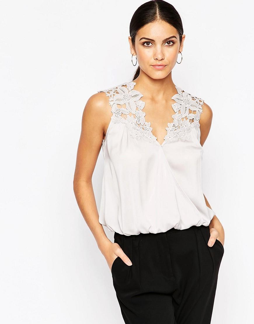 Lipsy Crochet Applique Wrap Blouse in White | Lyst