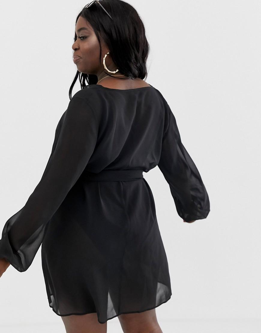 2c07fea29bf31 Lyst - ASOS Asos Design Curve Recycled Long Sleeve Wrap Tie Chiffon Beach  Kimono In Black in Black