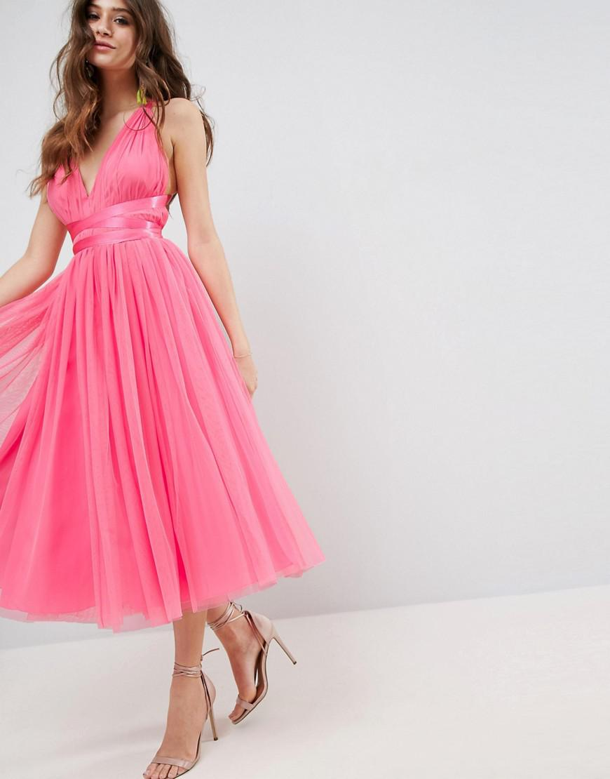 e0aa0cd5768f ASOS Premium Tulle Midi Prom Dress With Ribbon Ties in Pink - Lyst