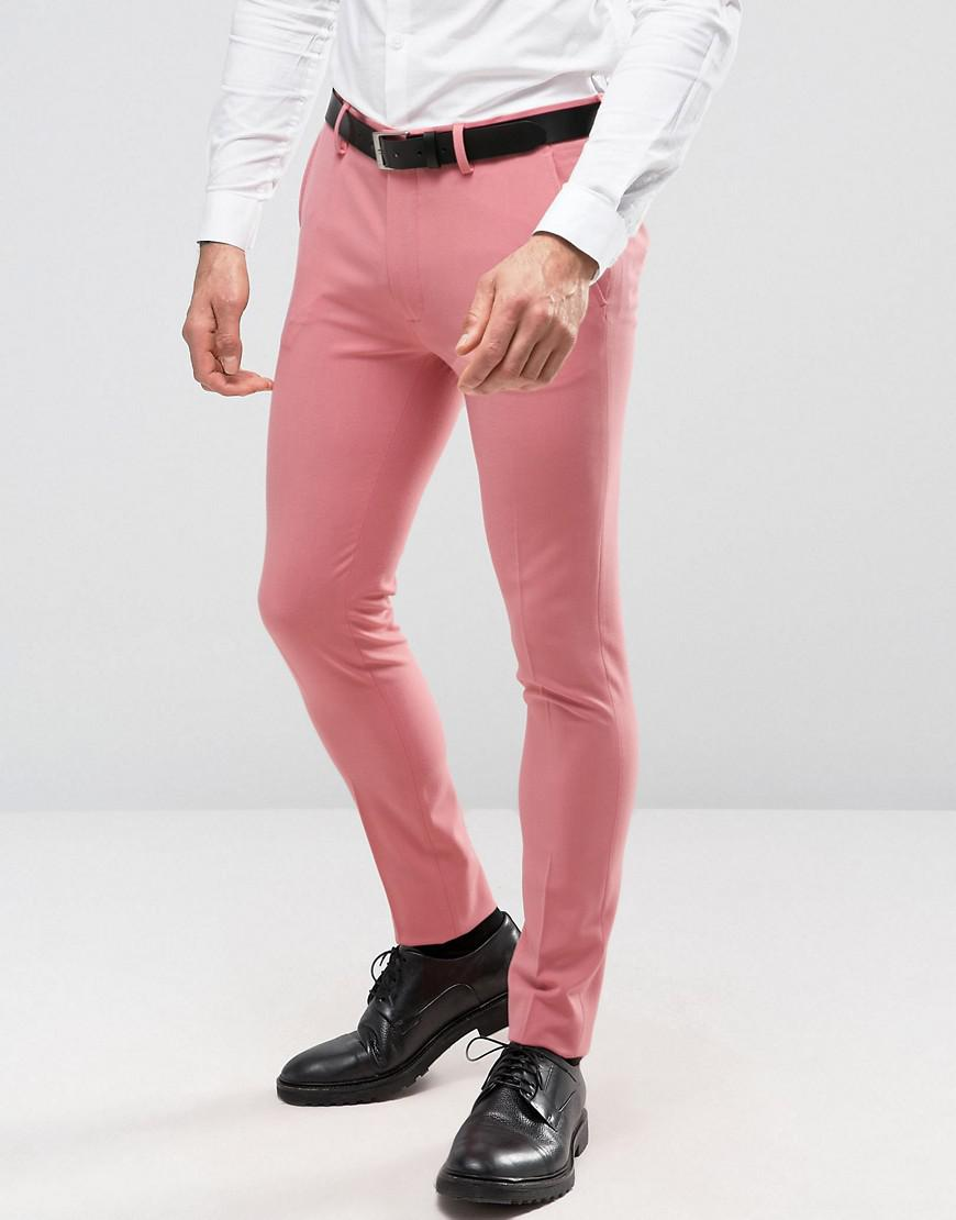 lyst asos super skinny suit pants in mid pink in pink for men