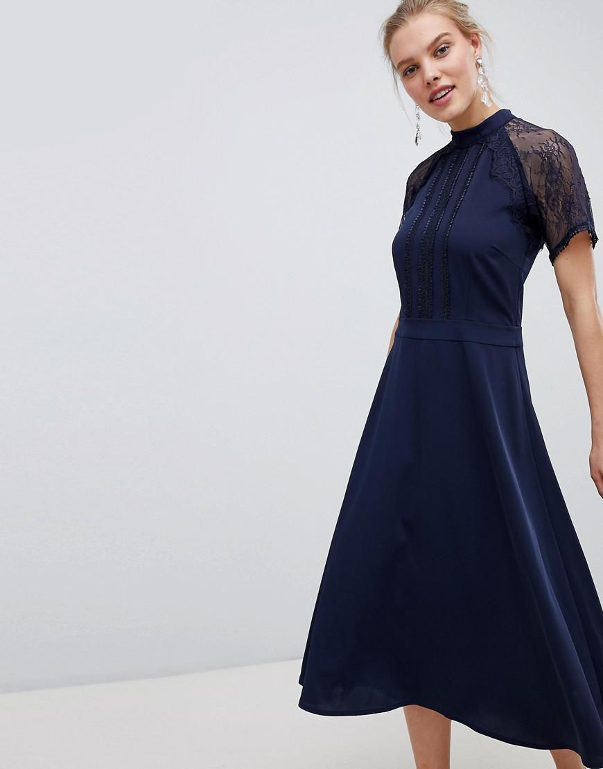 b60ea4a9b753d Liquorish - Blue A Line Lace Detail Midi Dress - Lyst. View fullscreen