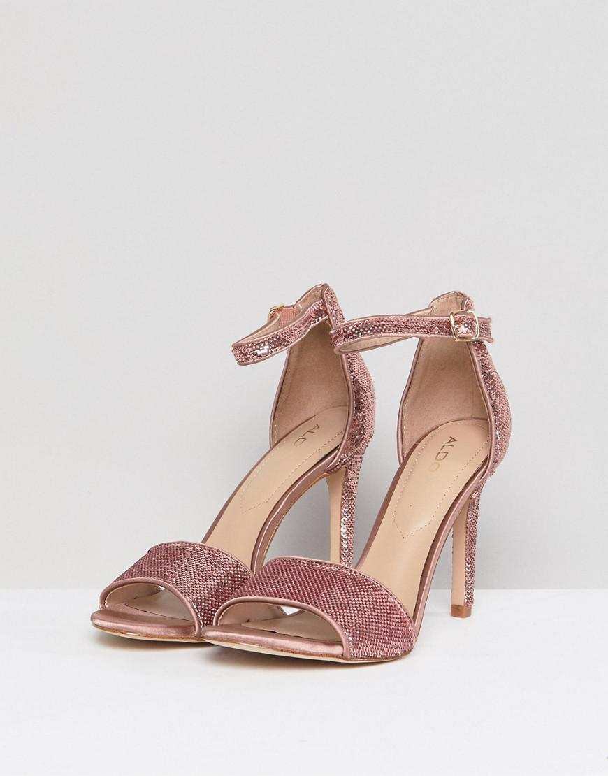c17e63b83b07 ALDO Fiolla Rose Gold Sequin Heeled Sandal in Metallic - Lyst