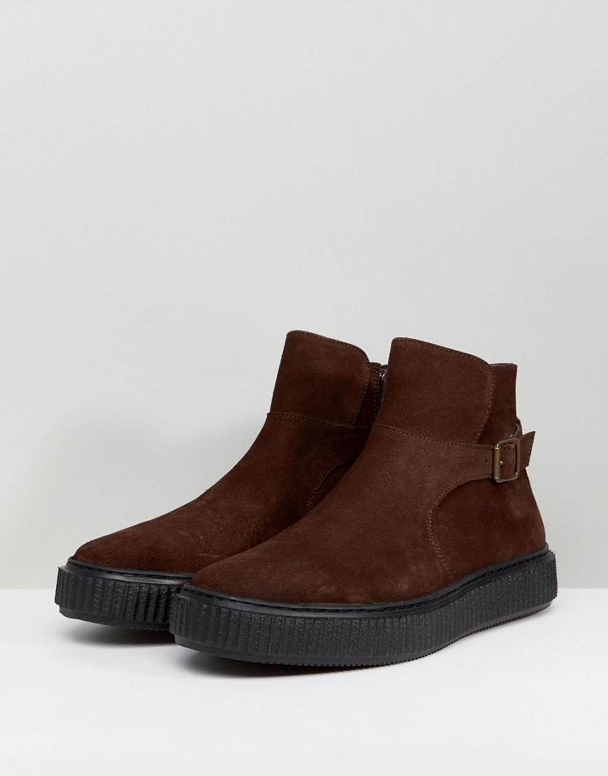 Fendi Brown Suede Creeper Chelsea Boots