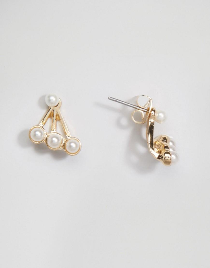 Lyst - Asos Faux Pearl Swing Earrings