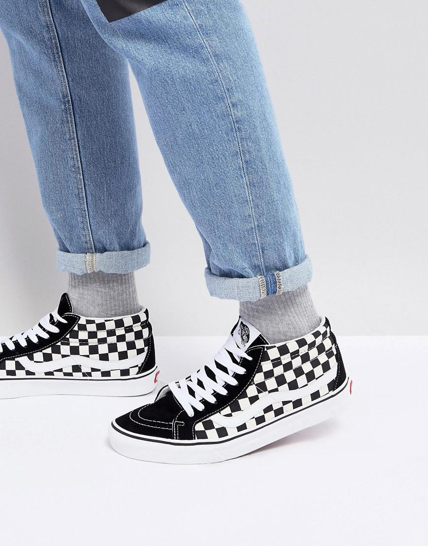 8f8e1facaf0aaa Vans Sk8-mid Reissue Checkerboard Trainers In Black Va391fqxh in ...