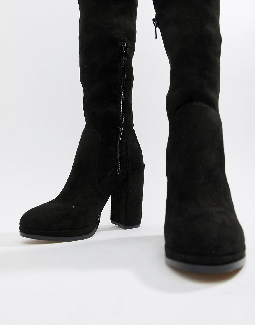 bdcf39fec5a ASOS Wide Leg Kassidy Heeled Thigh High Boots in Black - Lyst