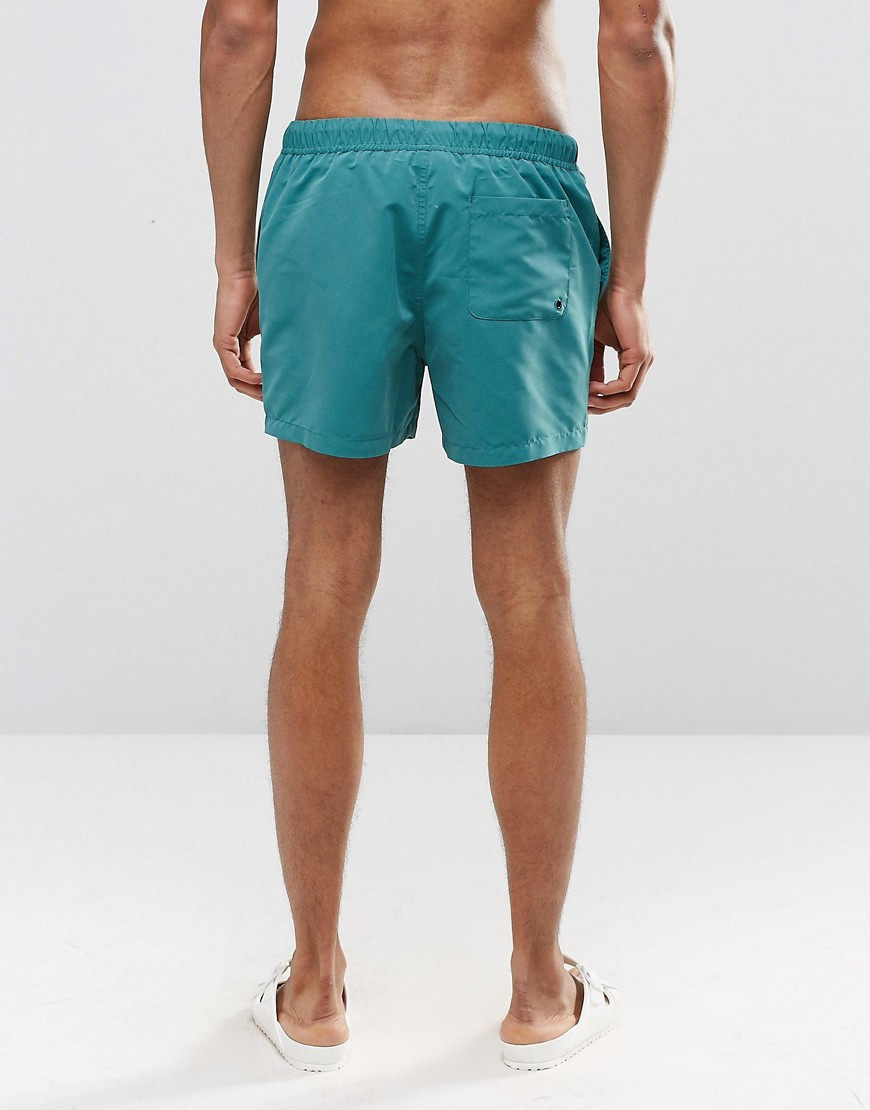 Asos Synthetic Swim Shorts In Teal Short Length In Blue