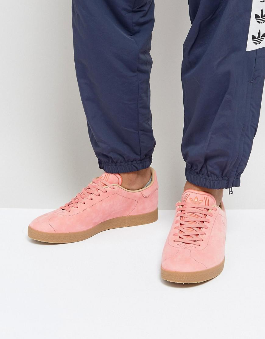 mens pink adidas gazelle trainers