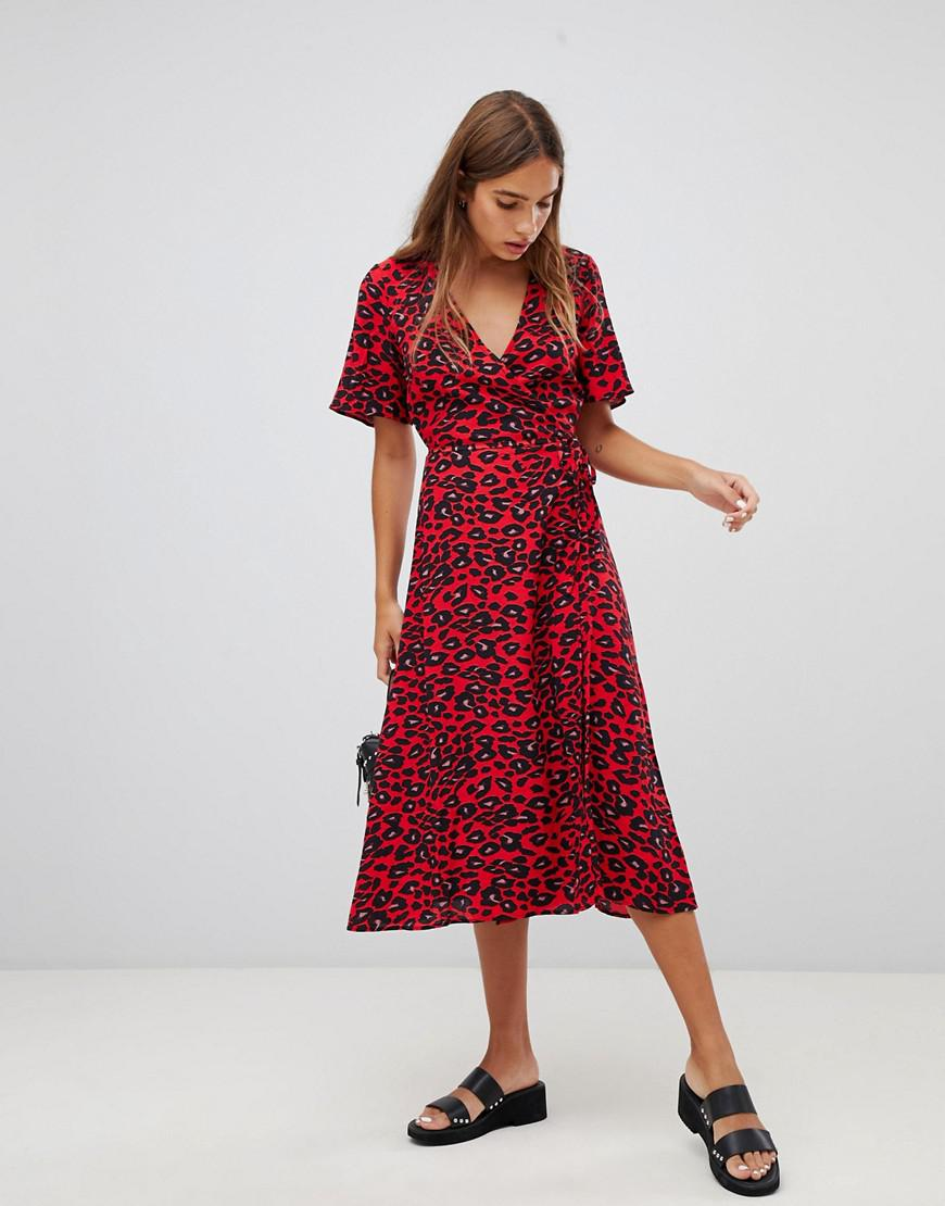 e6677f498e Lyst - New Look Animal Print Midi Wrap Dress in Red
