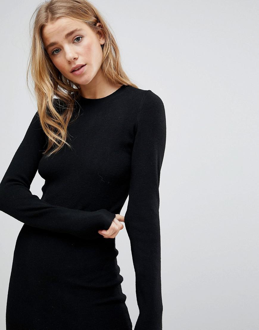 7eb17eb360dd Bershka Knitted Jumper Midi Dress in Black - Lyst