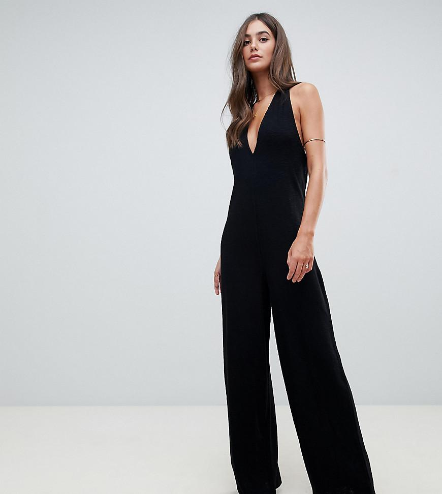 7587291dbe ASOS. Women s Black Asos Design Tall Halter Neck Jumpsuit With Plunge Front
