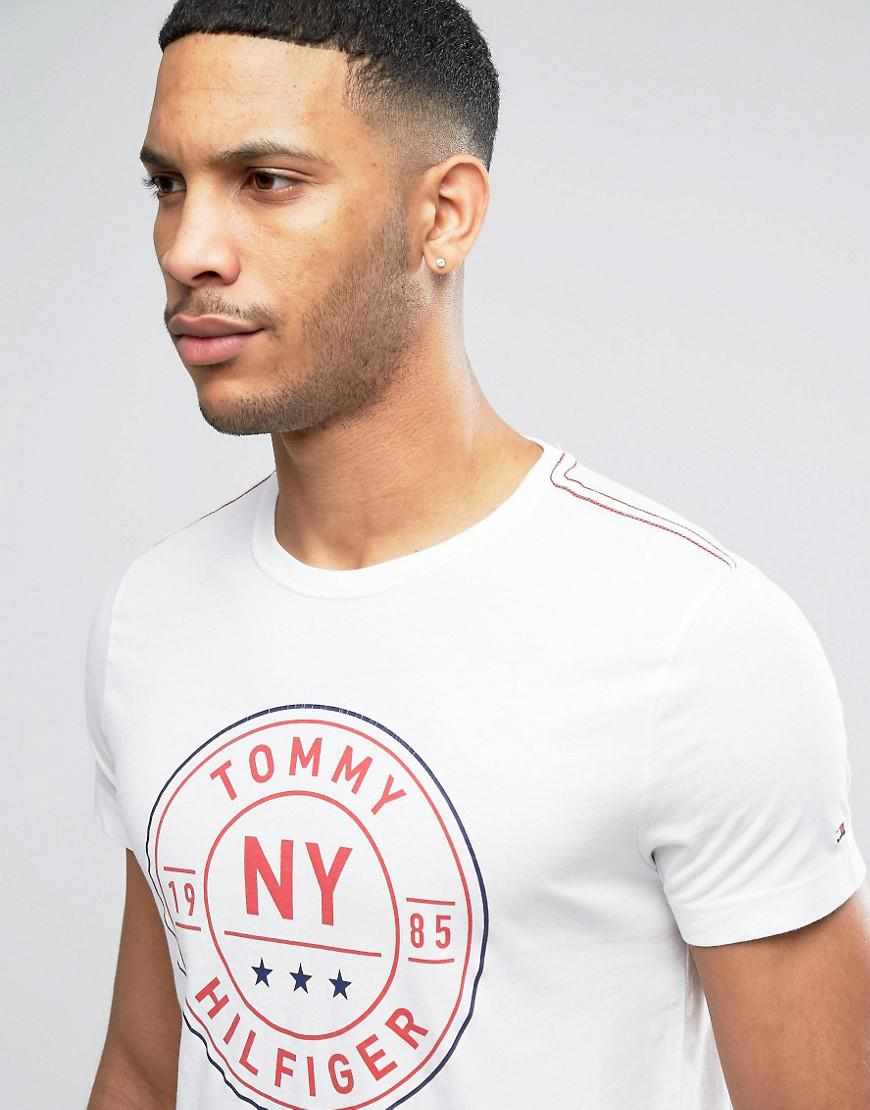 9a47d44cb1 Lyst - Tommy Hilfiger Circle Logo T-shirt Regular Fit In White in ...
