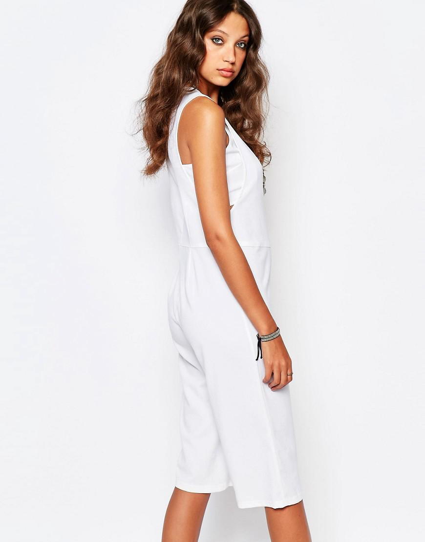 8007064946a Lyst - Noisy May Tall Cropped Jumpsuit With Bandeau Underlay in White