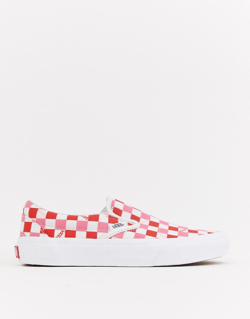 Vans Exclusive Red And Pink Checkerboard Slip On Trainers - Lyst 06eabce85