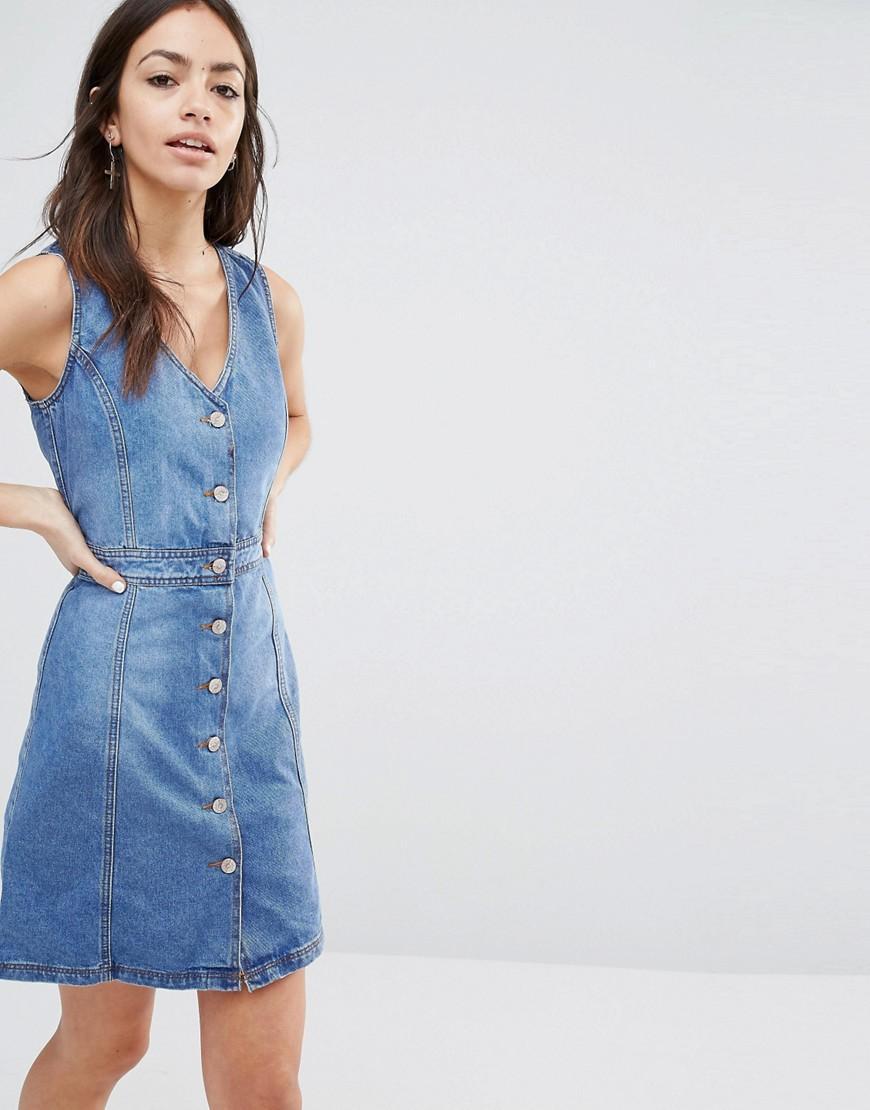 Lyst - New Look Button Thru Denim Dress - Blue in Blue