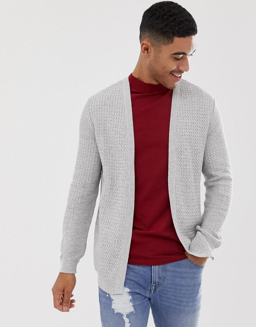 33db929c20d Asos Lightweight Cable Cardigan In Light Grey in Gray for Men - Lyst
